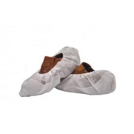 Wegwerp plastic schoen omhulsel met versterking van de tong TST PP CPE wit (50 stuks)