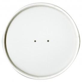 Papieren Deksel plat wit Ø11,7cm (25 stuks)