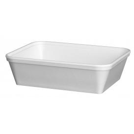 """Schuim Container """"Diner-pakket"""" Rechthoekige vorm wit 740ml (200 stuks)"""
