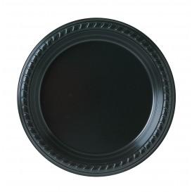 Plastic bord Plat van PS zwart 18 cm (25 stuks)