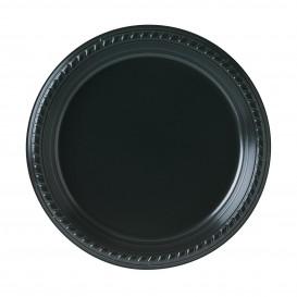 Plastic bord Plat van PS zwart 23 cm (25 stuks)