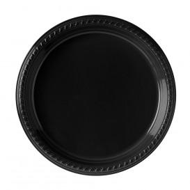 Plastic bord Plat van PS zwart 26 cm (25 stuks)
