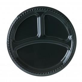 Plastic bord Plat van PS zwart 3C 26 cm (500 stuks)