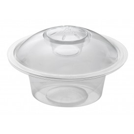 "Plastic deli Container 375ml + Plastic Deksel ""Press&Dress"" + Portie beker (150 pakkets)"