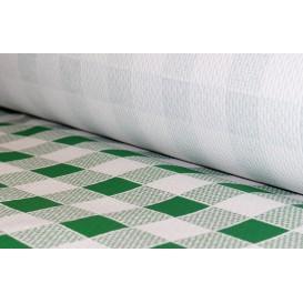 Papieren tafelkleed rol groen Checkers 1x100m. 40g (6 stuks)