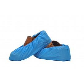 Wegwerp plastic schoen omhulsel PE CPE G160 blauw (100 stuks)