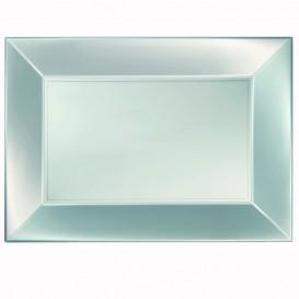 """Plastic dienblad microgolfbaar zilver """"Nice"""" 34,5x23cm (60 stuks)"""