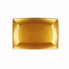 """Plastic dienblad microgolfbaar goud """"Nice"""" 28x19cm (12 stuks)"""