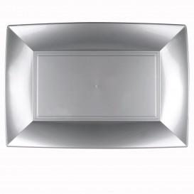 "Plastic dienblad microgolfbaar grijs ""Nice"" 34,5x23cm (6 stuks)"