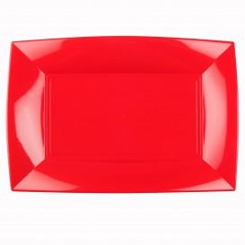 """Plastic dienblad microgolfbaar rood """"Nice"""" 34,5x23cm (6 stuks)"""