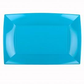 """Plastic dienblad microgolfbaar turkoois """"Nice"""" 34,5x23cm (6 stuks)"""