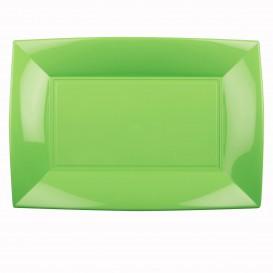 """Plastic dienblad microgolfbaar limoengroen """"Nice"""" 34,5x23cm (60 stuks)"""