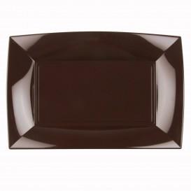"Plastic dienblad microgolfbaar bruin ""Nice"" 34,5x23cm (6 stuks)"