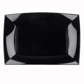 "Plastic dienblad microgolfbaar zwart ""Nice"" 34,5x23cm (6 stuks)"