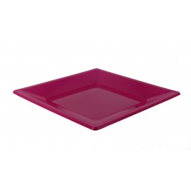 Plastic bord Vierkant plat fuchsia 17 cm (750 stuks)