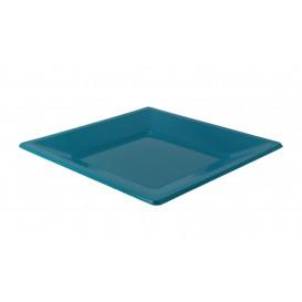 Plastic bord Plat Vierkant turkoois 17 cm (25 stuks)