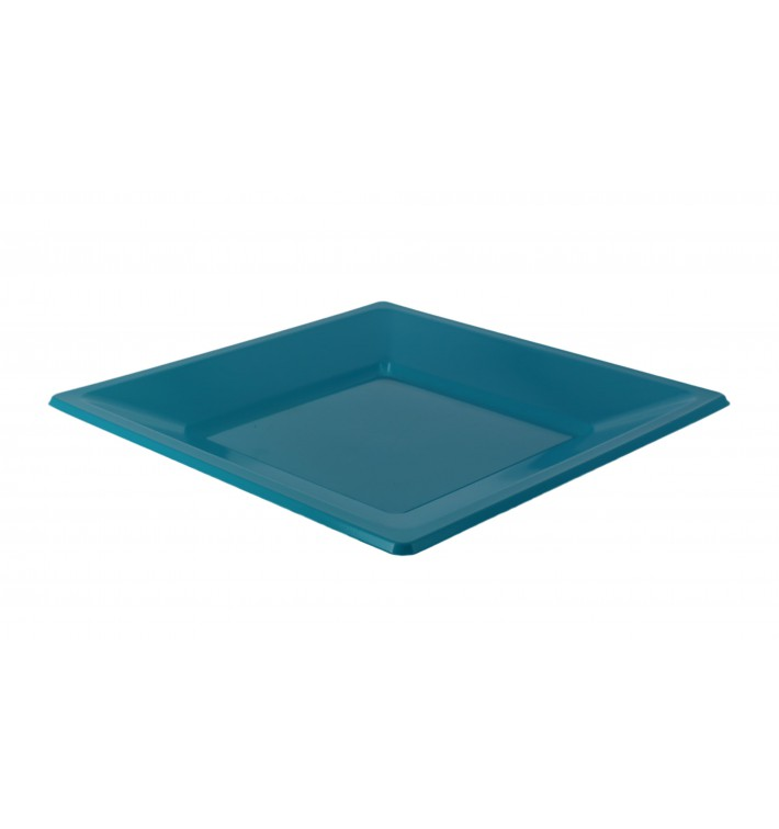 Plastic bord Vierkant plat turkoois 17 cm (750 stuks)