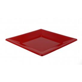 Plastic bord Plat Vierkant rood 23 cm (25 stuks)