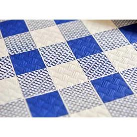 Voorgesneden papieren tafelkleed blauw Checkers 40g 1x1m (400 stuks)