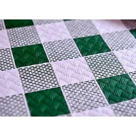 Voorgesneden papieren tafelkleed groen Checkers 40g 1x1m (400 stuks)