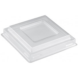 Plastic Deksel voor Proeving Kom PS Vierkant Dessert transparant PET 90 ml (1000 stuks)