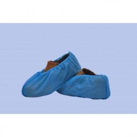 Wegwerp plastic schoen omhulsel PP blauw (100 stuks)