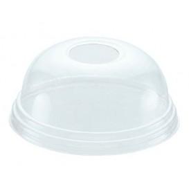 Plastic PET koepel Deksel met gat Kristal Ø8,1cm (100 stuks)