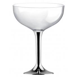 Plastic stam fluitglas zilver chroom 200ml 2P (20 stuks)