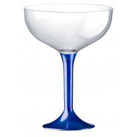 Copa de Plastico Champan con Pie Azul Perlado 200ml (200 Uds)