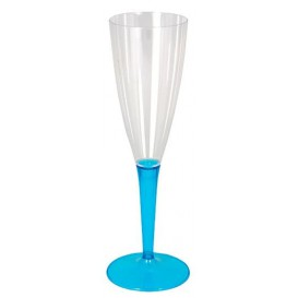 Plastic stam fluitglas Mousserende Wijn turkoois 100ml (36 stuks)