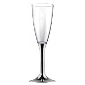 Plastic stam fluitglas Mousserende Wijn zilver chroom 120ml 2P (20 stuks)
