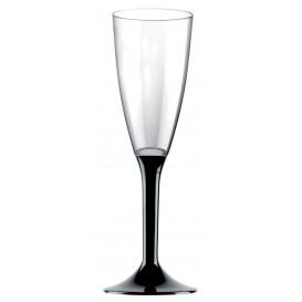 Plastic stam fluitglas Mousserende Wijn zwart 120ml 2P (200 stuks)