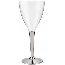 Plastic stamglas wijn zilver 130ml (10 stuks)