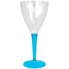 Copa de Plastico Vino Pie Turquesa 130ml (60 Uds)