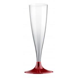 Plastic stam fluitglas Mousserende Wijn bordeauxrood 140ml 2P (20 stuks)