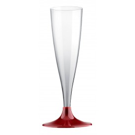 Plastic stam fluitglas Mousserende Wijn bordeauxrood 140ml 2P (400 stuks)
