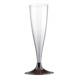 Plastic stam fluitglas Mousserende Wijn bruin 140ml 2P (400 stuks)