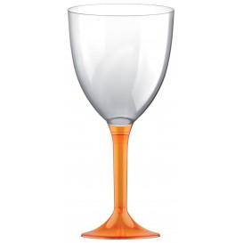 Plastic stamglas wijn oranje transparant verwijderbare stam 300ml (20 stuks)