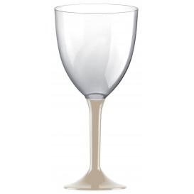 Plastic stamglas wijn beige verwijderbare stam 300ml (20 stuks)