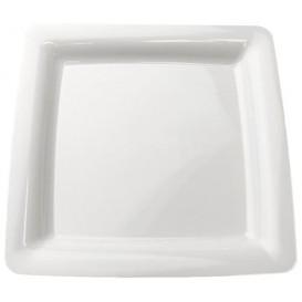 Plastic bord Vierkant extra sterk wit 18x18cm (20 stuks)
