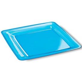 Plastic bord Vierkant extra sterk turkoois 22,5x22,5cm (6 stuks)