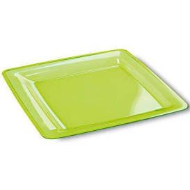 Plastic bord Vierkant extra sterk groen 22,5x22,5cm (6 stuks)