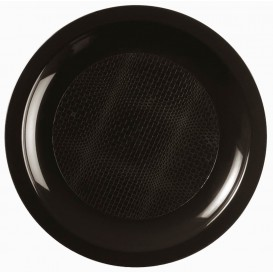 "Plastic bord Plat zwart ""Rond vormig"" PP Ø18,5 cm (600 stuks)"