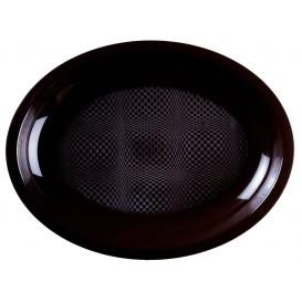 """Plastic schotel microgolfbaar Ovaal vormig zwart """"Rond vormig"""" 25,5x19 cm (50 stuks)"""