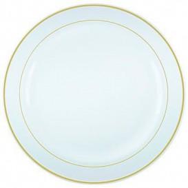 Plastic bord Extra stijf met Ovale rand goud 23cm (20 stuks)