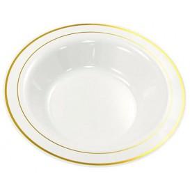Plastic bord Extra stijf Diep met border goud 23cm (200 stuks)