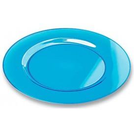 Plastic bord Rond vormig extra sterk turkoois 23cm (6 stuks)
