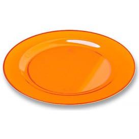 Plastic bord Rond vormig extra sterk oranje 19cm (120 stuks)