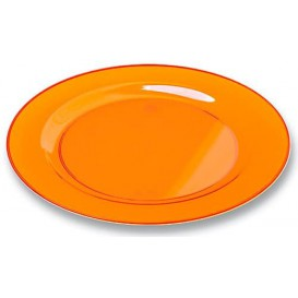 Plastic bord Rond vormig extra sterk oranje 26cm (90 stuks)