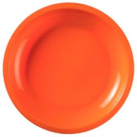 "Plastic bord Plat oranje ""Rond vormig"" PP Ø18,5 cm (600 stuks)"